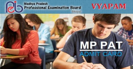 MP PAT Admit Card 2017