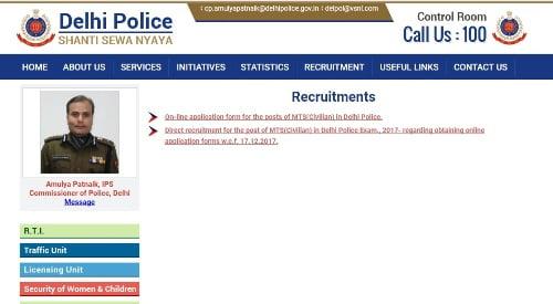 Delhi Police MTS 707 Posts Vacancy 2017