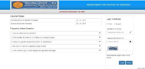 Reserve Bank of India Assistant Mains Admit Card 2017