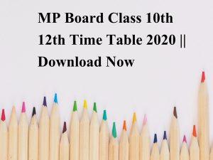 MP Board Class 10th 12th Admit Card 2020