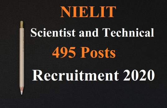 NIELIT Scientist and Technical 495 Posts Admit Card 2020