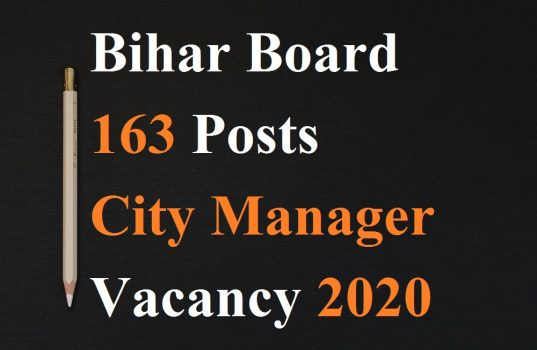 Bihar Board 163 Posts City Manager Vacancy 2020
