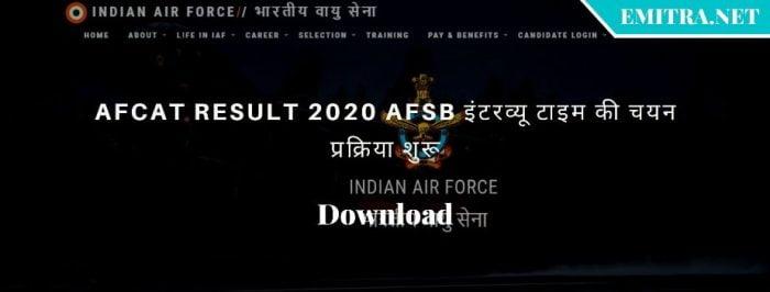 AFCAT Result 2020 Download