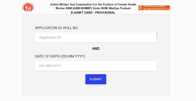 MP NHM Female Health Worker ANM Admit Card 2021