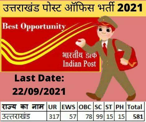 उत्तराखंड पोस्ट ऑफिस भर्ती 2021