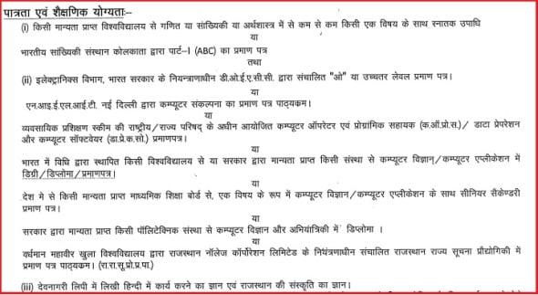 Rajasthan Computor Bharti Education Qualification